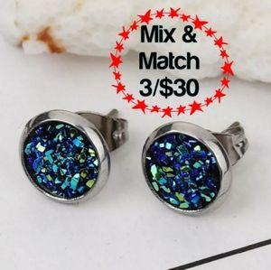 Stainless Steel Blue Stud Earrings